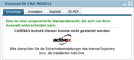 CADENAS ActiveX-Viewer could not be started