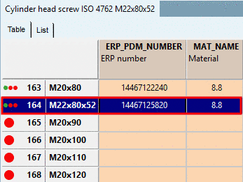 Background colors for ERP/PDM columns in PARTdataManager