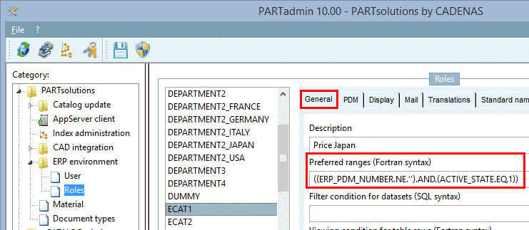 Example: Preferred ranges and Display condition for parts selection both require the existence of an ERP number.