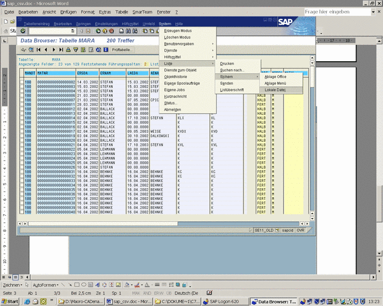 Initial situation in PARTlinkManager