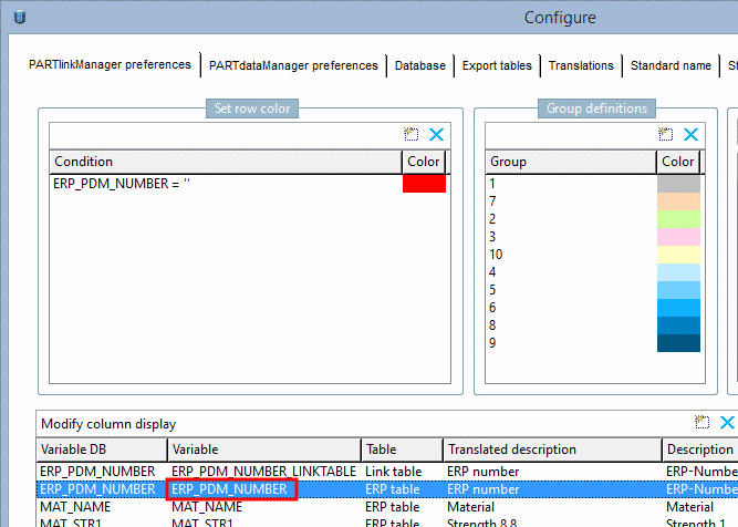 Example: Standard name in PARTadmin
