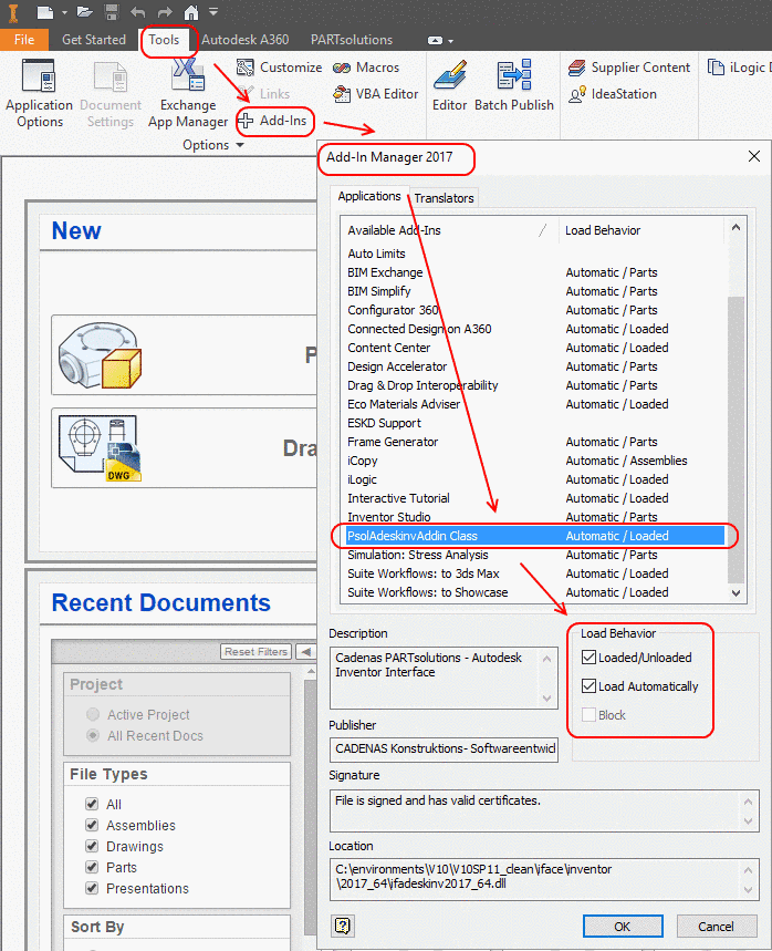 Example: Add-In Manager 2017