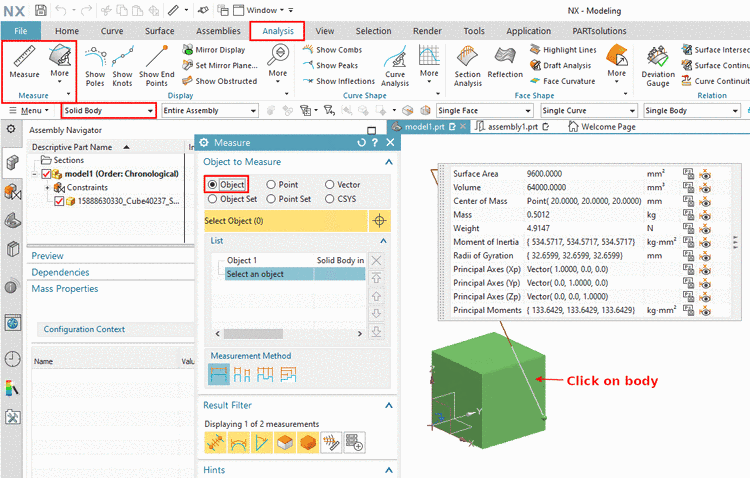 "Example using NX 1899: Analysis > Measure > Selection Filter ""Solid Body"" > Measure dialog (Object) > click on body"