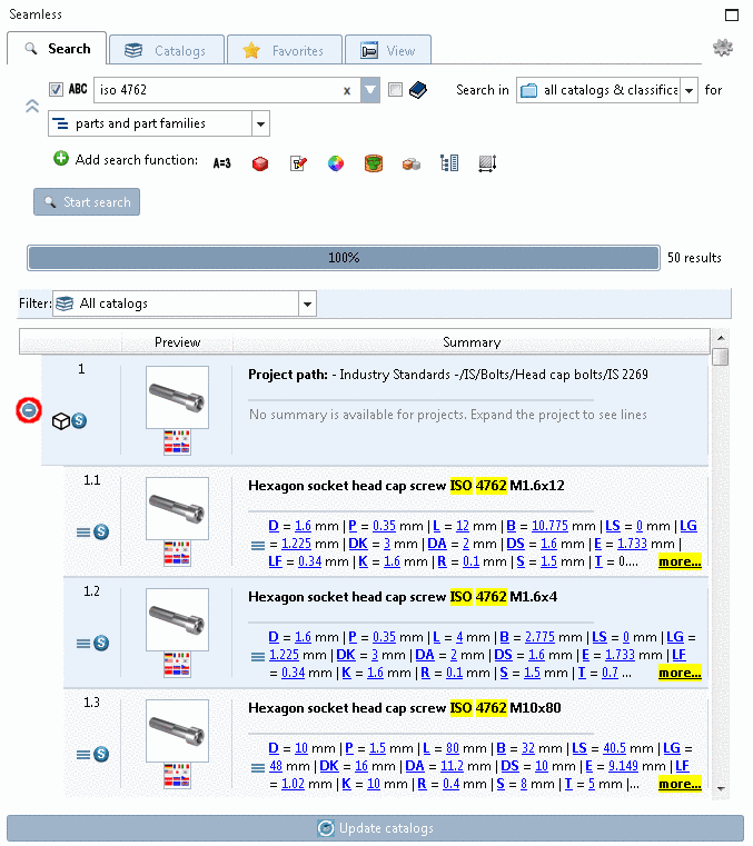 When you click on the plus sign, the part family opens and you can see the contained parts.