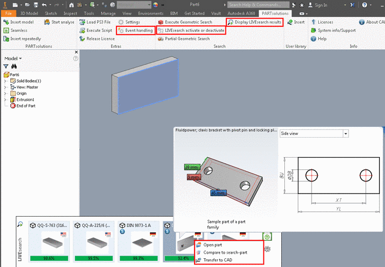 LIVEsearch sample in Inventor