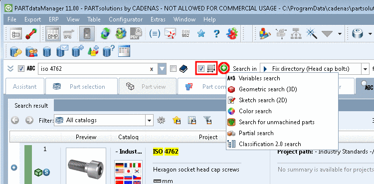 "Topology search used and ""Enhanced search methods"" area hidden"