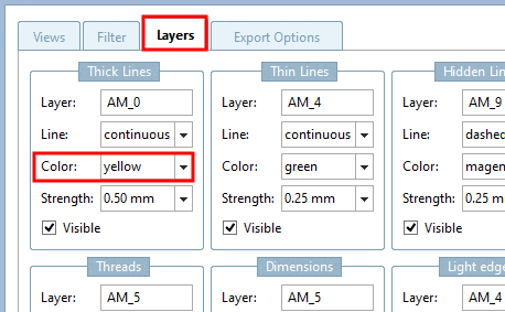 "Example: ""Thick lines"" are mapped to layer ""AM_0"" and are stored in the dwg file in yellow."