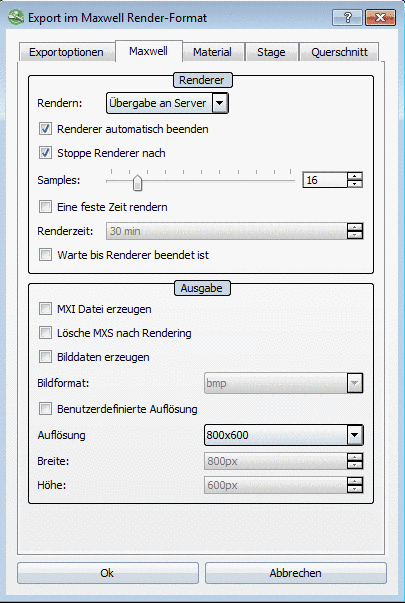 """Export using Maxwell Render format"" dialog box - Transfer to server"
