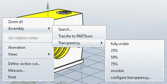 Context menu: Assembly - 3D view - outside
