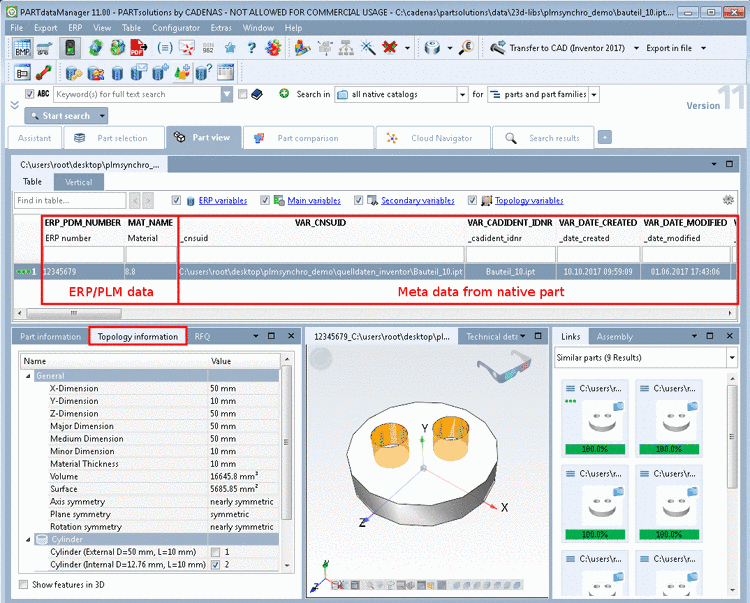PARTdataManager Part view - Characteristic attribute table with data from ERP/PLM and CAD