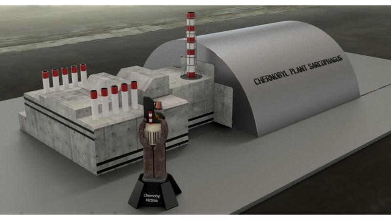 Chernobyl Nuclear Power Plant sarcophagus - 3D Building - 3D