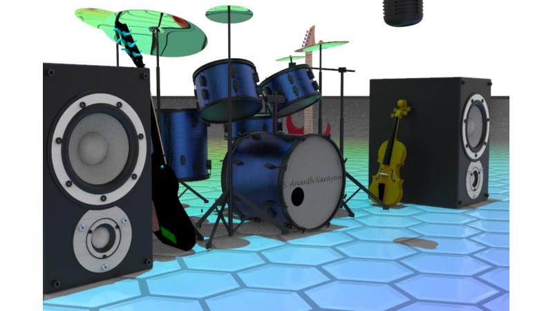 Amplificado-Guns N Roses Drum-color de la oleada