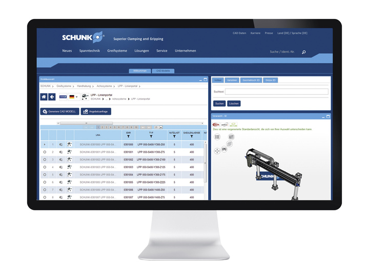 In the SCHUNK online configurator assembly automation, entire Pick & Place systems can be implemented, loaded as assemblies into the CAD program and parts lists generated as order references. All components are available as intelligent 3D-CAD models.