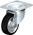 3D CAD MODELS- Blickle - L-V - Pressed steel swivel castor, medium heavy duty brackets, with top plate fitting and 'stop-fix' brake, wheel with standard solid rubber tyres, with pressed steel rim, reinforced design