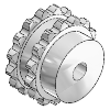 "3D CAD MODELS- Ketten Fuchs GmbH - Double sprocket 3/4 x 7/16"" - Double sprockets 3/4 x 7/16"", suitable for two running side by side single roller chains according to DIN 8187 or ISO / R 606"