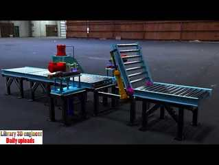 224  Roller conveyor line || Free download 3d model - Video - Free